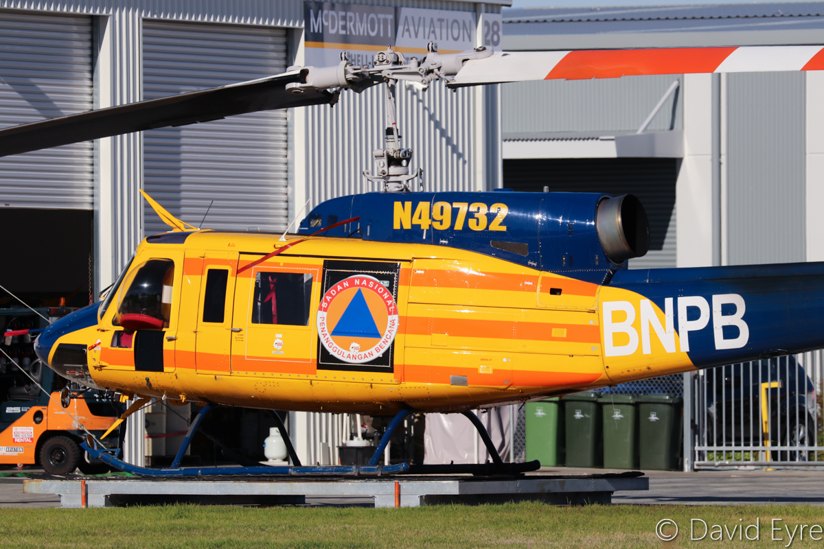 N49732 Bell 214B-1 BigLifter (MSN 28005) of McDermott Aviation, with Badan Nasional Penanggulangan Bencana (BNPB) titles (Indonesian National Board for Disaster Management), at Jandakot Airport – 6 June 2017. During summer months, this helicopter is operated for the WA Department of Fire and Emergency Services, for firefighting. Built in 1976. Ex N49732, 101 (Royal Air Force of Oman), 751 (Royal Air Force of Oman). Photo © David Eyre