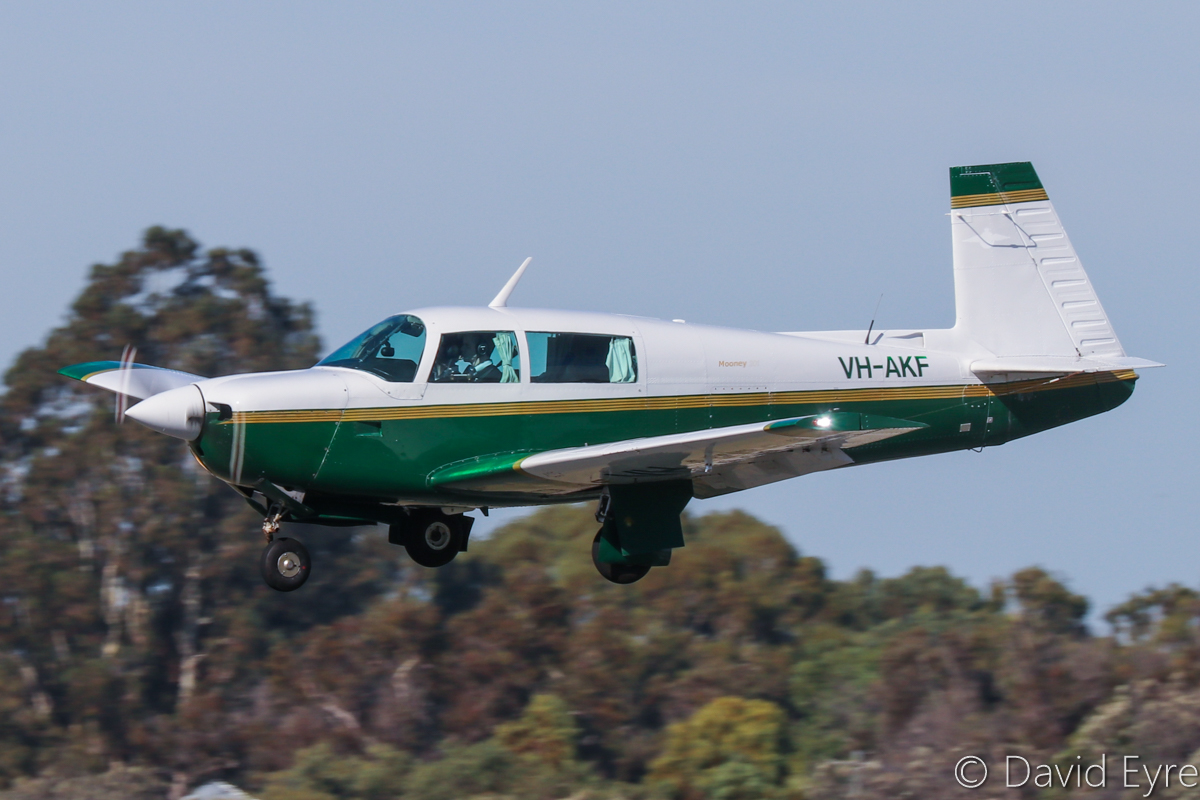 VH-AKF Mooney M20J 201 (MSN 24-0798) of the Royal Aero Club of Western Australia Inc, at Jandakot Airport - 6 June 2017. Landing on runway 06L. Built in 1978, ex N4545H. Photo © David Eyre