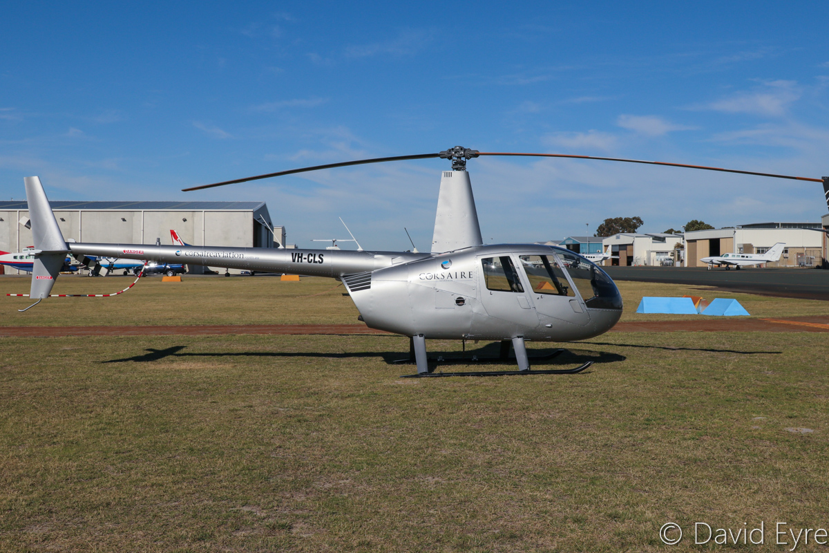 VH-CLS Robinson R44 Raven II (MSN 13392) operated by Corsaire Aviation, at Jandakot Airport - 6 June 2017. Previously based in Queensland. Built in 2012. Photo © David Eyre