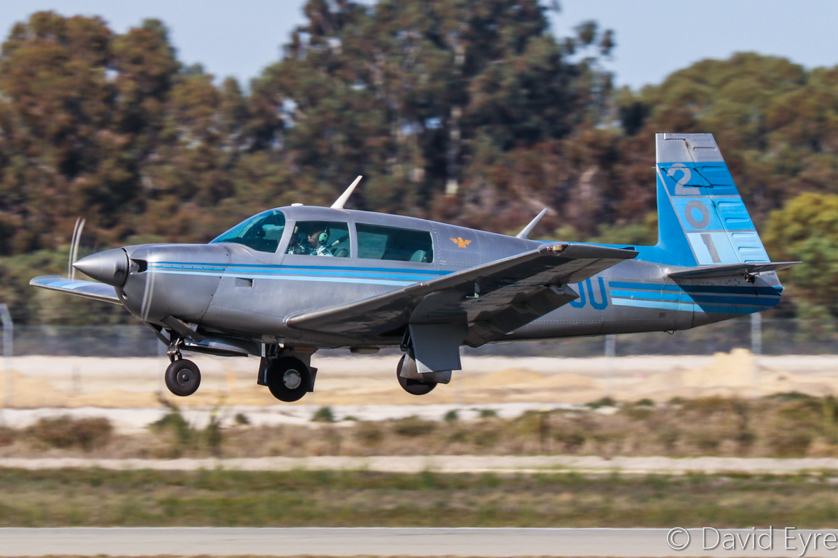 VH-DJU Mooney M20J 201 (MSN 24-1075) owned by James Sturrock, at Jandakot Airport – 6 June 2017. Landing on runway 06L. Built in 1981, ex N96982, ZS-LAD. Photo © David Eyre