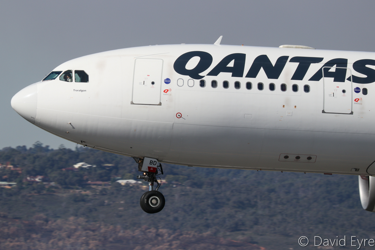 VH-EBD Airbus A330-202 (MSN 513) of Qantas, named 'Traralgon', at Perth Airport - 6 June 2017. Flight QF581 from Sydney, landing on runway 03 at 12:54pm. Photo © David Eyre