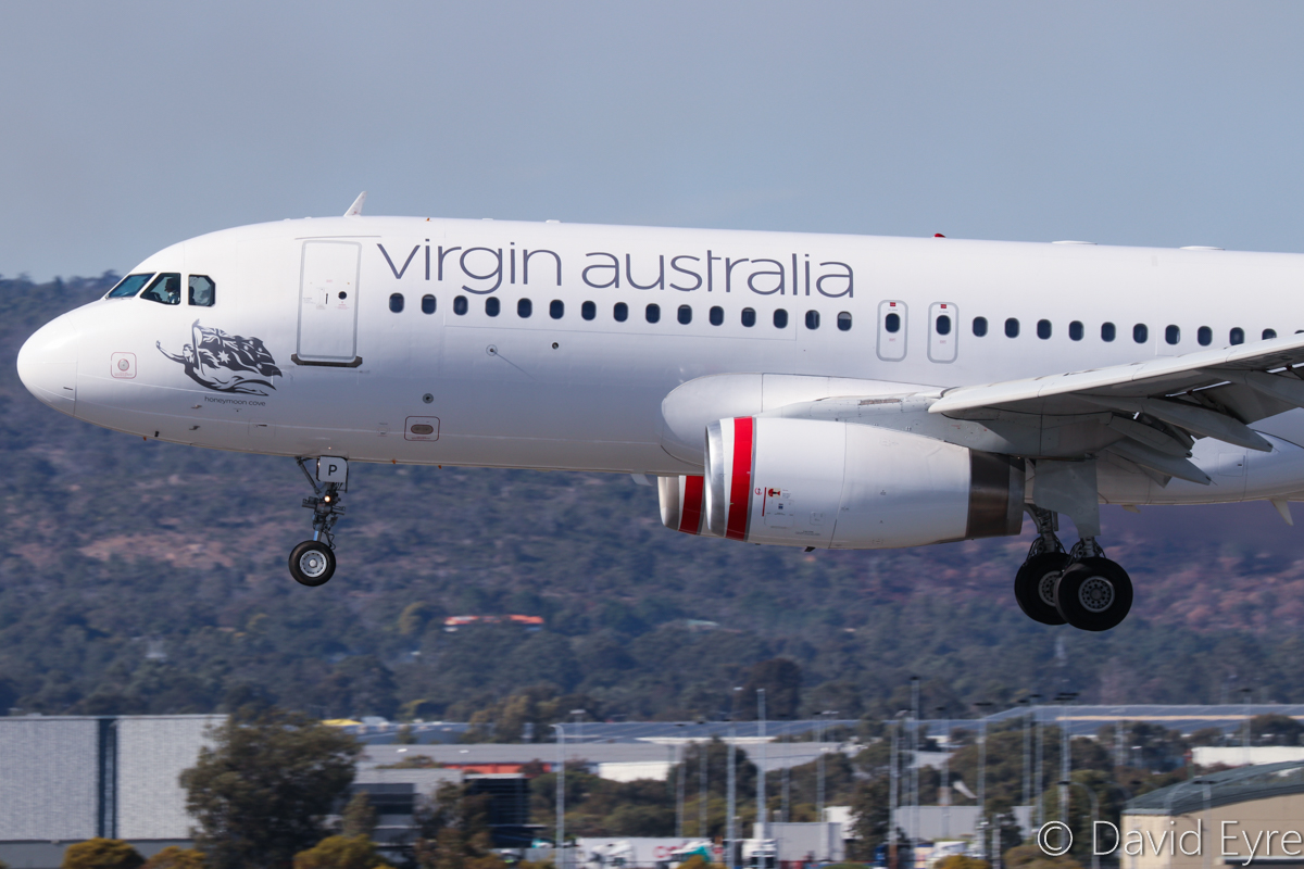 VH-FNP Airbus A320-231 (MSN 429) of Virgin Australia Regional Airlines, named 'Honeymoon Cove', at Perth Airport - 6 June 2017. Landing on runway 03 at 12:15pm as VA9214 from Boolgeeda. Photo © David Eyre