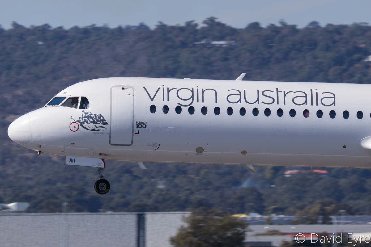 VH-FNR Fokker 100 (MSN 11488) of Virgin Australia Regional Airlines, named 'Lake Argyle', at Perth Airport - 6 June 2017. Flight VA9200 from Argyle Diamond Mine, landing on runway 03 at 12:12pm. Photo © David Eyre
