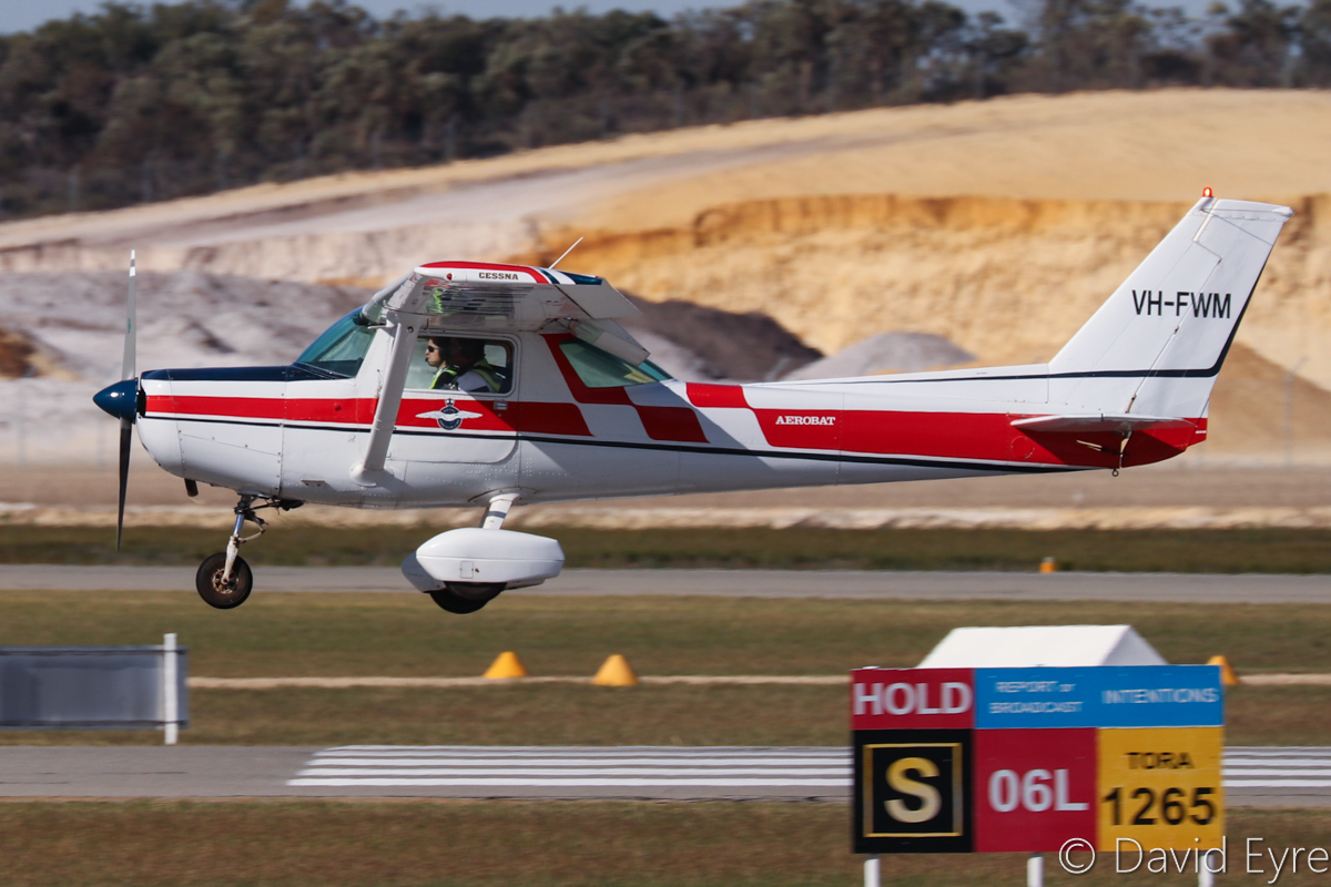 VH-FWM Cessna A152 Aerobat (MSN A1520772) of the Royal Aero Club of Western Australia Inc, at Jandakot Airport - 6 June 2017. Landing on runway 06L, with some gusty crosswinds. Built in 1977, ex N1743C, N7580B. Photo © David Eyre