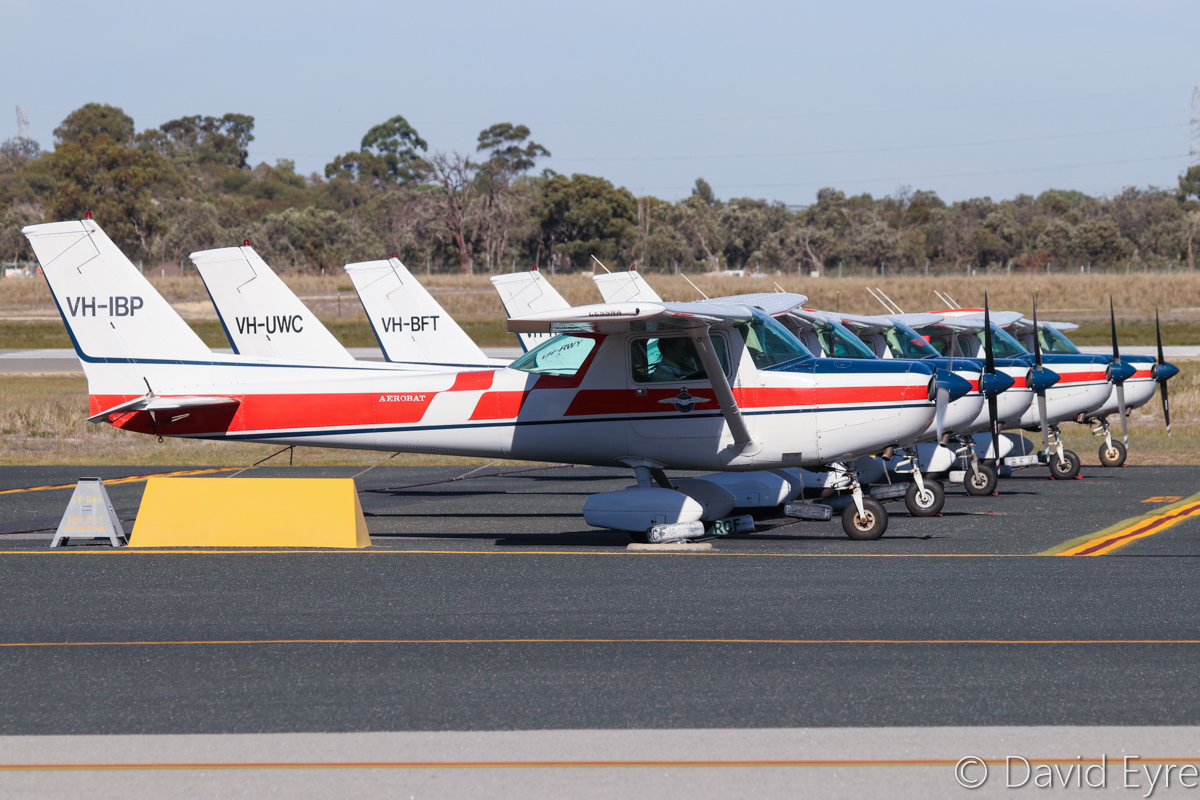 VH-IBP Cessna A152 Aerobat (MSN A1520795) of the Royal Aero Club of Western Australia Inc, at Jandakot Airport - 6 June 2017. About to taxy out for a training flight. Built in 1978, ex N1900C, N7376L. Photo © David Eyre