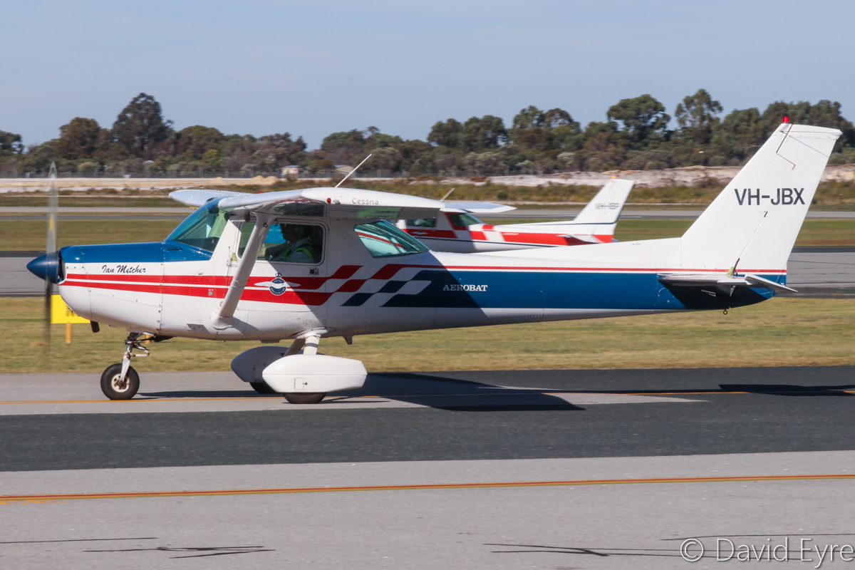"VH-JBX Cessna A152 Aerobat (MSN A1520785) of the Royal Aero Club of Western Australia Inc, named ""Ian Metcher"", at Jandakot Airport - 6 June 2017. Taxying out for a training flight. Built in 1978, ex N7317L. Photo © David Eyre"