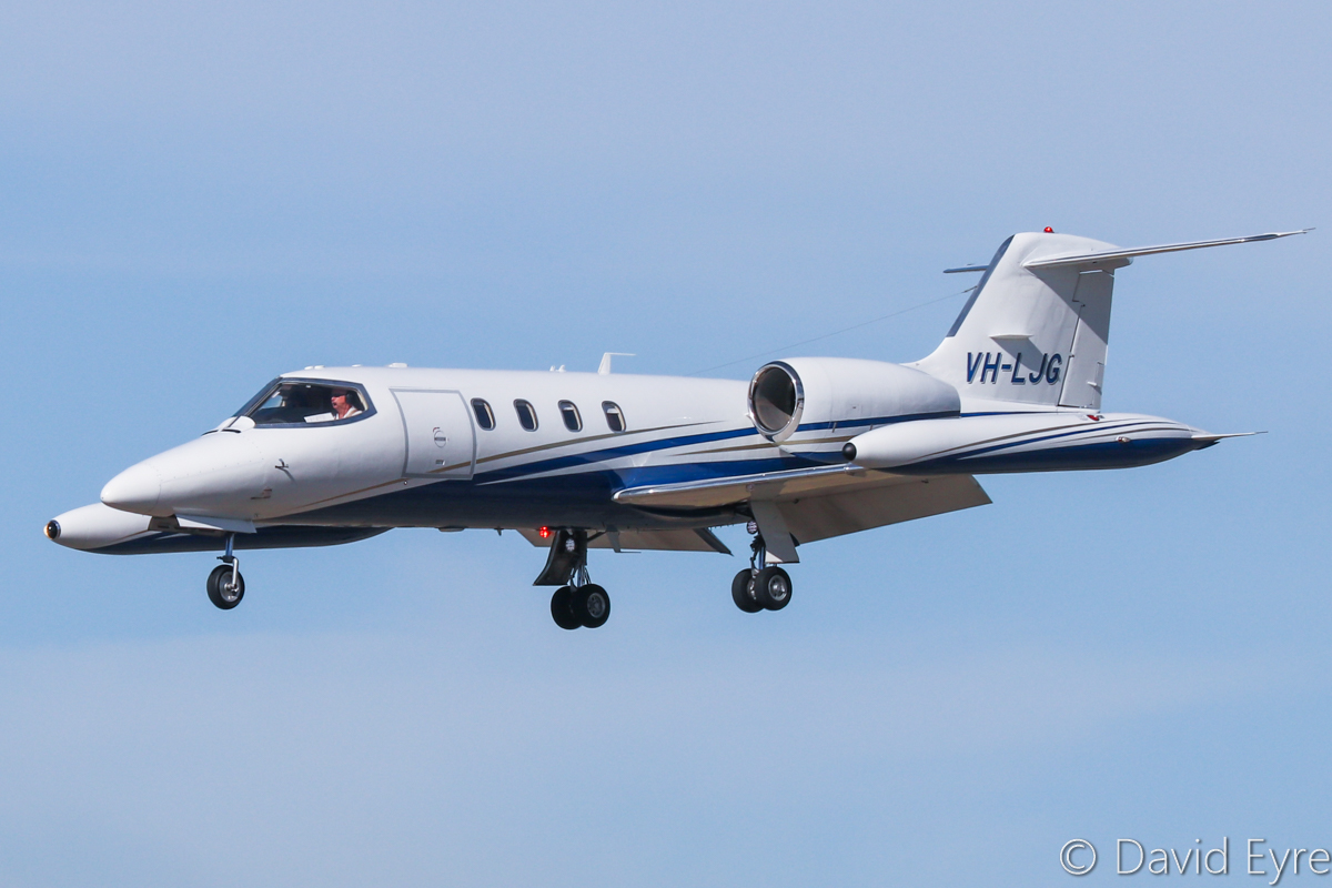 VH-LJG Gates Learjet 35A (MSN 35A-121) owned by Medical Air/Aus West Airlines (2010) Pty Ltd/Formula Aviation, at Perth Airport - 6 June 2017. Used as an air ambulance - seen here landing on runway 03 at 12:39pm, after a short 9-minute hop from its base at Jandakot. It departed the next day on a medevac flight to Bali. Built in 1977, ex N43EL, (D-CFVG), N43TJ, N752AC. Photo © David Eyre