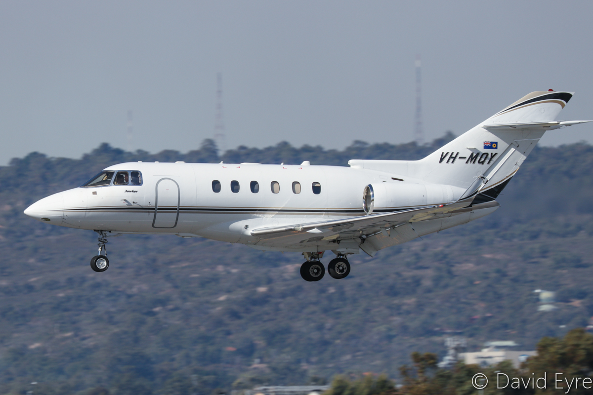 VH-MQY Raytheon Hawker 850XP (MSN 258807) of Maroomba Airlines (Nantay Pty Ltd), which is operated for the Government of Western Australia, at Perth Airport - 6 June 2017. Landing on runway 03 at 12:49pm, arriving from Albany. Photo © David Eyre
