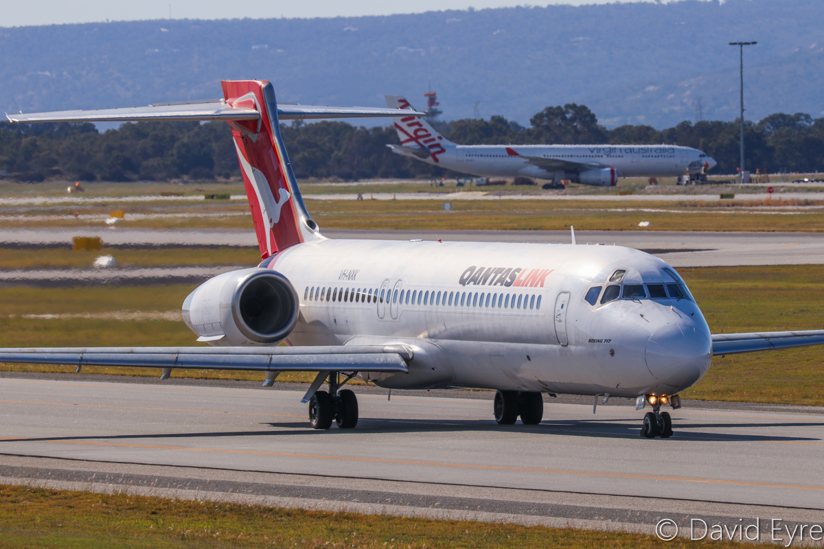 VH-NXK Boeing 717-231 (MSN 55092/5077) of QantasLink, at Perth Airport - 6 June 2017. QJET 1938 to Alice Springs, taxying to runway 03 for take-off at 12:31pm. Photo © David Eyre