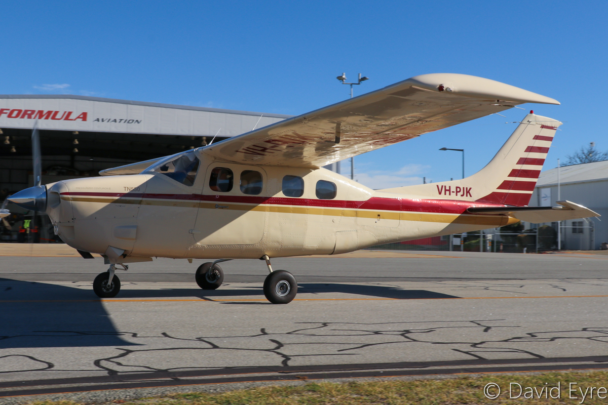 VH-PJK Cessna P210N Pressurized Centurion II TN550 (MSN 21000010) owned by Bradley J Gooding, Shadforth, WA, at Jandakot Airport - 6 June 2017. Built in 1978, ex N7383P. This Centurion has been re-engined using a Vitatoe Aviation kit, with a Teledyne Continental Motors IO550P engine replacing the usual TSIO-520, while retaining the original turbocharger. This provides increased performance, fuel efficiency, power, cooling, and serviceability. Photo © David Eyre
