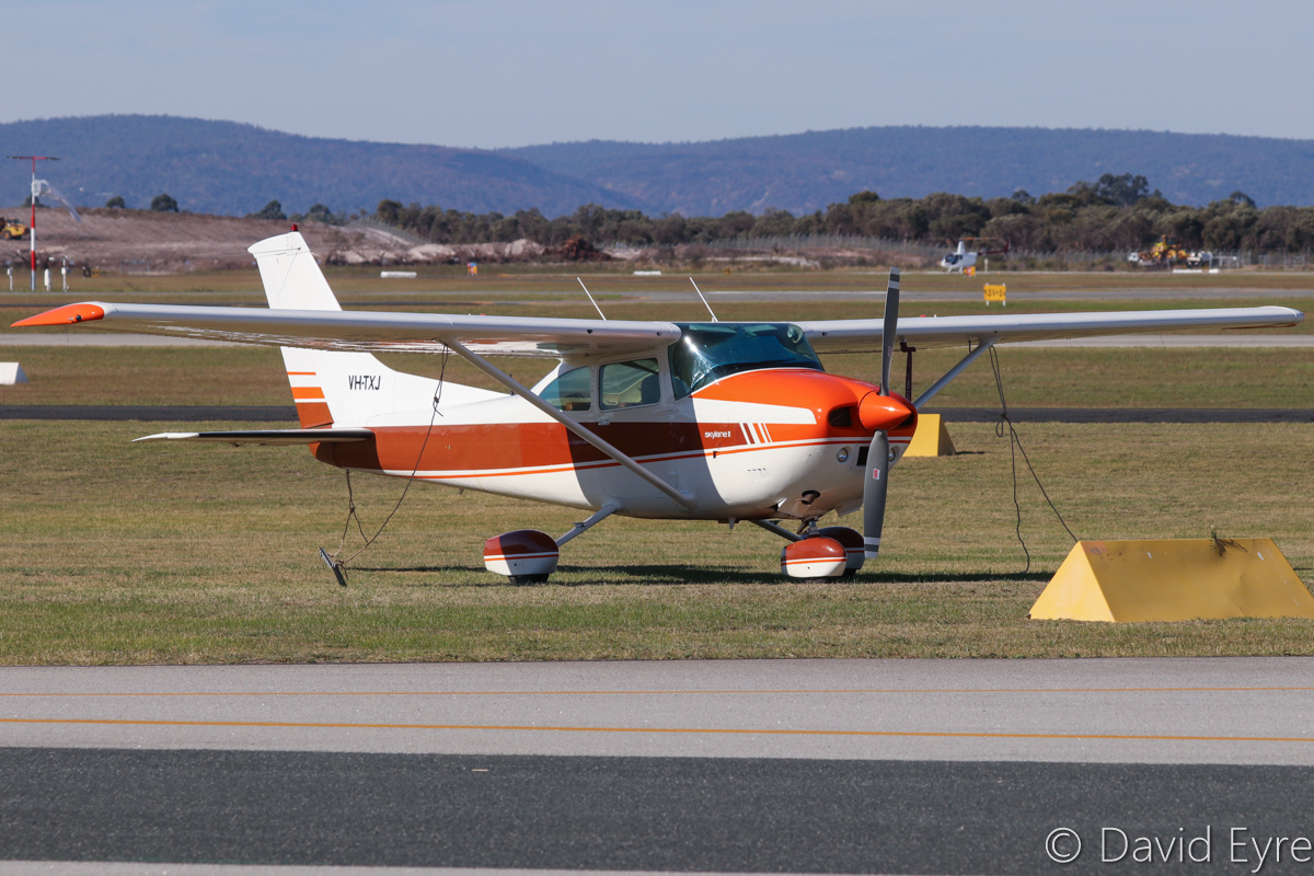 VH-TXJ Cessna 182Q Skylane (MSN 18265444) owned by Philip J Longmire, of Esperance, WA, at Jandakot Airport - 6 June 2017. Built in 1977, ex N735HU. Photo © David Eyre