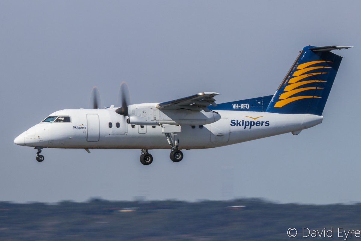 VH-XFQ De Havilland Canada DHC-8-106 Dash 8 (MSN 306) of Skippers Aviation, at Perth Airport - 6 June 2017. Landing on runway 03 at 12:45pm, arriving from Carnarvon. Photo © David Eyre