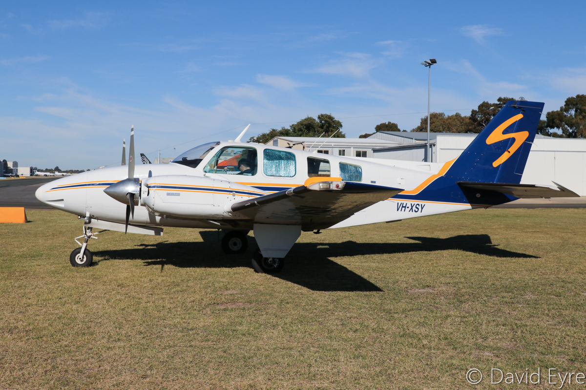VH-XSY Beech Baron 58 (MSN TH-425) of Shine Aviation, Geraldton, WA (Chrishine Nominees Pty Ltd), at Jandakot Airport - 6 June 2017. Once operated by the Royal Flying Doctor Service as VH-FDE. Built in 1974, ex ZK-TWB, ZK-KVT, VH-FDE, N3151W. Photo © David Eyre