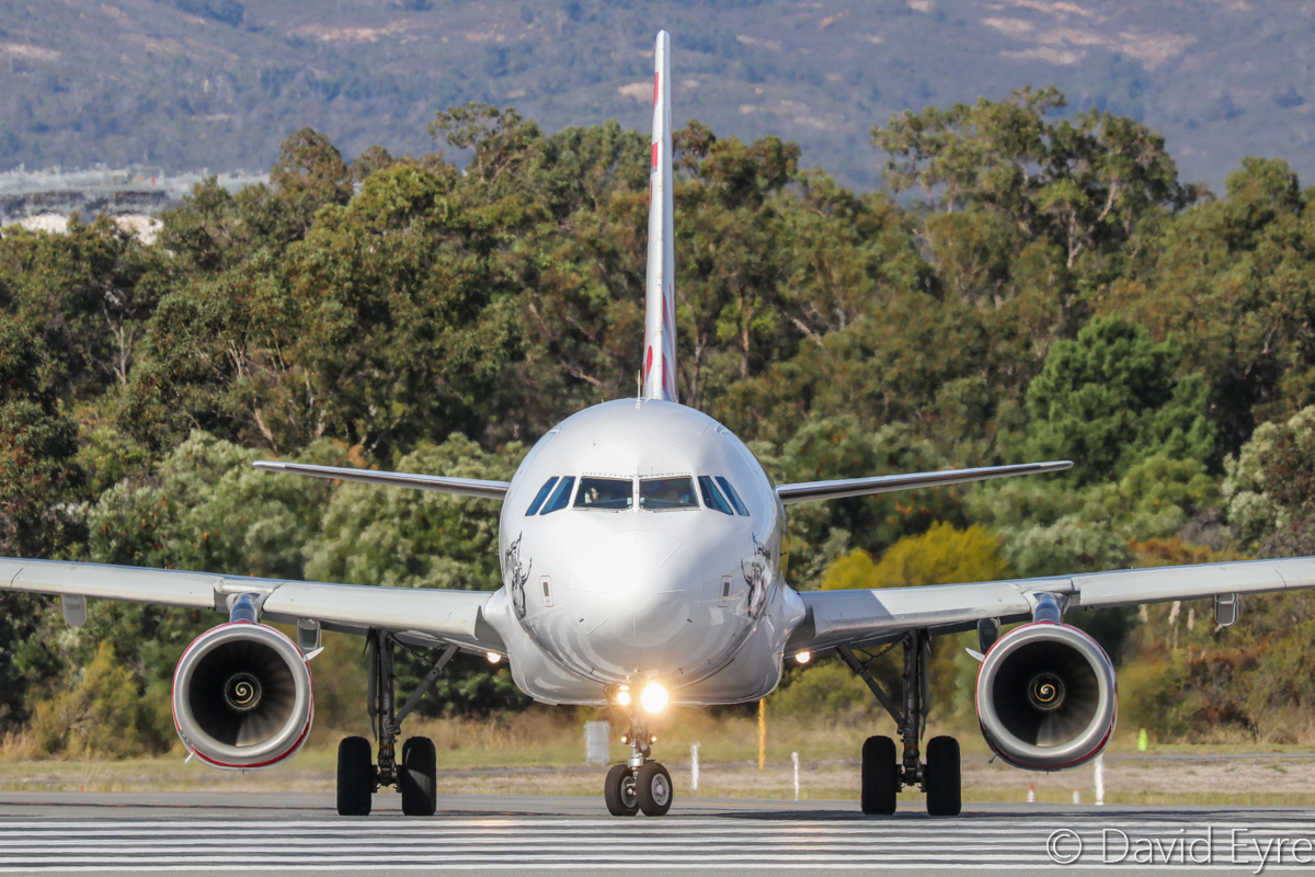 VH-YUD Airbus A320-232 (MSN 1922) of Virgin Australia Regional Airlines, named 'Port Beach', at Perth Airport - 6 June 2017. Flight VA1909 to Christmas Island, lining up on runway 03 at 1:21pm. Photo © David Eyre