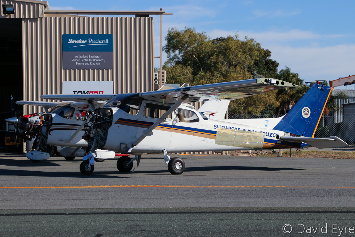 VH-YUJ Cessna 172R Skyhawk (MSN 17281226) of Singapore Flying College Pte Ltd, at Jandakot Airport - 6 June 2017. Registered on 18 March 2016, this is one of a number of analog-cockpit Cessna 172Rs in the College fleet, recently shipped here from Singapore, due to consolidation of the flying at Jandakot. Built in 2004, ex 9V-FCJ, VH-BZV, N61719. Photo © David Eyre
