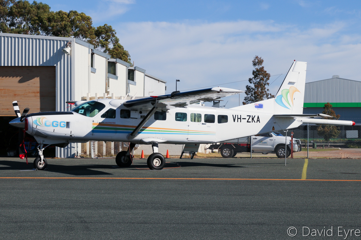 VH-ZKA Cessna 208B Grand Caravan (MSN 208B0860) of CGG Aviation (Australia) Pty Ltd, at Jandakot Airport - 6 June 2017. Modified for geophysical survey work with a magnetometer 'stinger' tailboom. This arrived at Jandakot from Africa during March 2017. Built in 2001, ex ZS-FSB, PR-SSB, ZS-SSB, N124AA, N51869. Photo © David Eyre