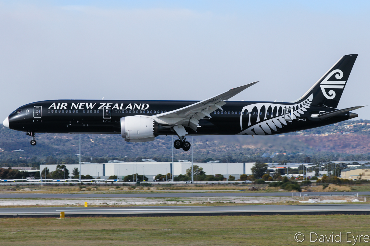 ZK-NZE Boeing 787-9 Dreamliner (MSN 34334/169) of Air New Zealand, in special all-black livery, at Perth Airport - 6 June 2017. Has a temporary white-painted nose cone, instead of the previous black. Seen here landing on runway 03 at 1:32pm, as NZ175 from Auckland. Photo © David Eyre
