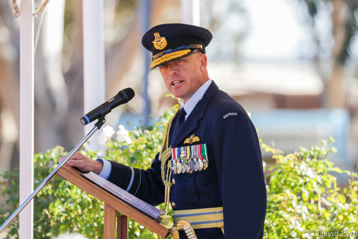 Air Vice Marshall Steve Roberton, DSC, AM, Air Commander Australia, at 247 Pilots Course graduation ceremony, RAAF Pearce - Fri 9 June 2017. AVM Roberton is a highly experienced fighter pilot with over 3,000 flying hours, mostly in the F/A-18A through F models. This included an exchange tour flying F/A-18s with the US Marine Corps, a deployment to the Middle East and leading the RAAF's transition to the F/A-18F Super Hornet. Photo © David Eyre