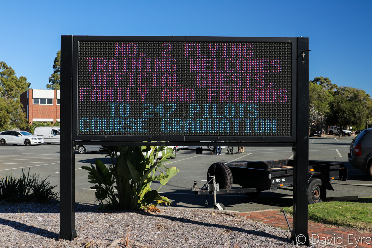 Sign near the entrance to RAAF Base Pearce, welcoming official guests, family and friends to 247 Pilots Course graduation - RAAF Pearce - Fri 9 June 2017. Photo © David Eyre