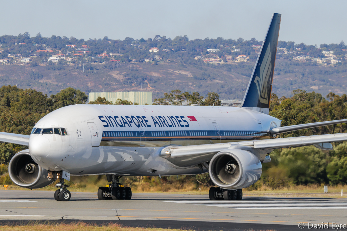9V-SVG Boeing 777-212ER (MSN 30872/398) of Singapore Airlines at Perth Airport – Fri 9 June 2017. SQ226 to Singapore, lining up on runway 03 at 2:20pm for take-off. This aircraft was previously leased to Royal Brunei from June 2010 to Dec 2013 as V8-BLB. Photo © David Eyre