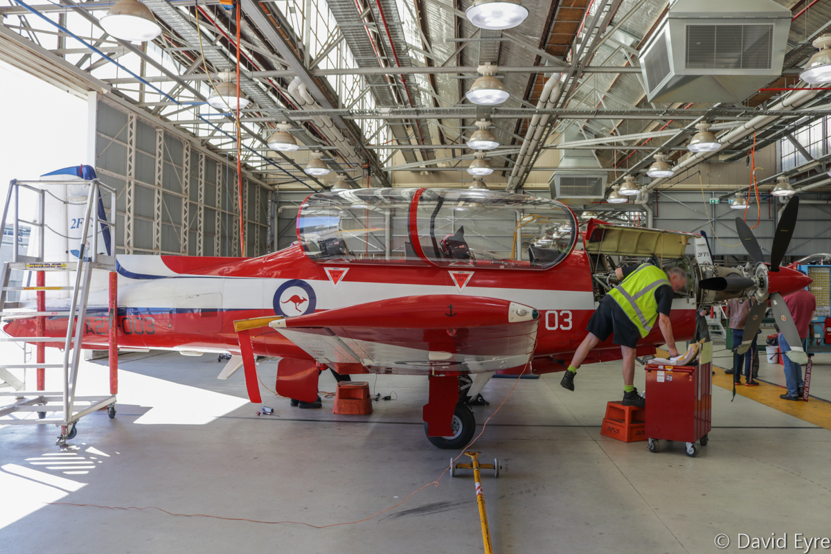 A23-003 Pilatus PC-9/A (MSN 503) of 2 Flying Training School (2 FTS), RAAF, at RAAF Pearce - Fri 9 June 2017. A23-003 was the first Australian-assembled PC-9/A, using a kit supplied by Pilatus, making its first flight on 14 November 1987 and was accepted by the RAAF on 9 December 1987. The first two PC-9s delivered to the RAAF (A23-001 & 002) were wholly built in Switzerland by Pilatus, and the other 65 aircraft (A23-003 to A23-067) were built under licence by Hawker de Havilland. Photo © David Eyre