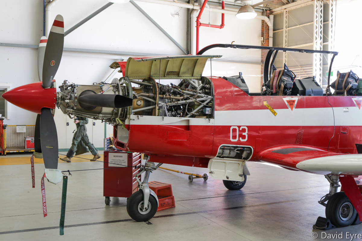 A23-003 Pilatus PC-9/A (MSN 503) of 2 Flying Training School (2 FTS), RAAF, at RAAF Pearce - Fri 9 June 2017. Powered by the 1,150hp (derated to 950hp) Pratt & Whitney Canada PT6A-62 turboprop. A23-003 was the first Australian-assembled PC-9/A, using a kit supplied by Pilatus, making its first flight on 14 November 1987 and was accepted by the RAAF on 9 December 1987. The first two PC-9s delivered to the RAAF (A23-001 & 002) were wholly built in Switzerland by Pilatus, and the other 65 aircraft (A23-003 to A23-067) were built under licence by Hawker de Havilland. Photo © David Eyre
