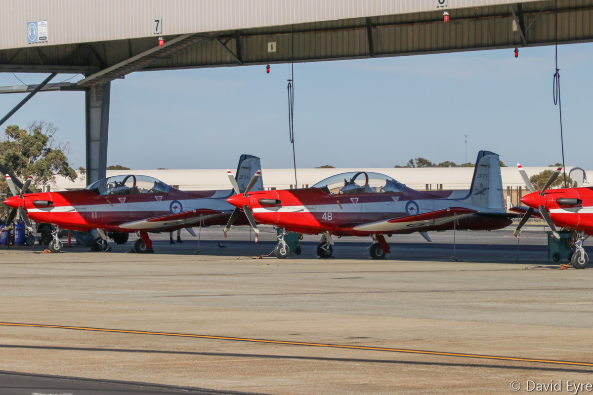 A23-011 (MSN 511) and A23-048 (MSN 548) Pilatus PC-9/A of 2 Flying Training School (2 FTS), RAAF, at RAAF Pearce - Fri 9 June 2017. Photo © David Eyre
