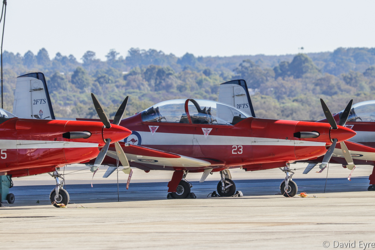 A23-015 (MSN 515) and A23-023 (MSN 523) Pilatus PC-9/A of 2 Flying Training School (2 FTS), RAAF, at RAAF Pearce - Fri 9 June 2017. Photo © David Eyre