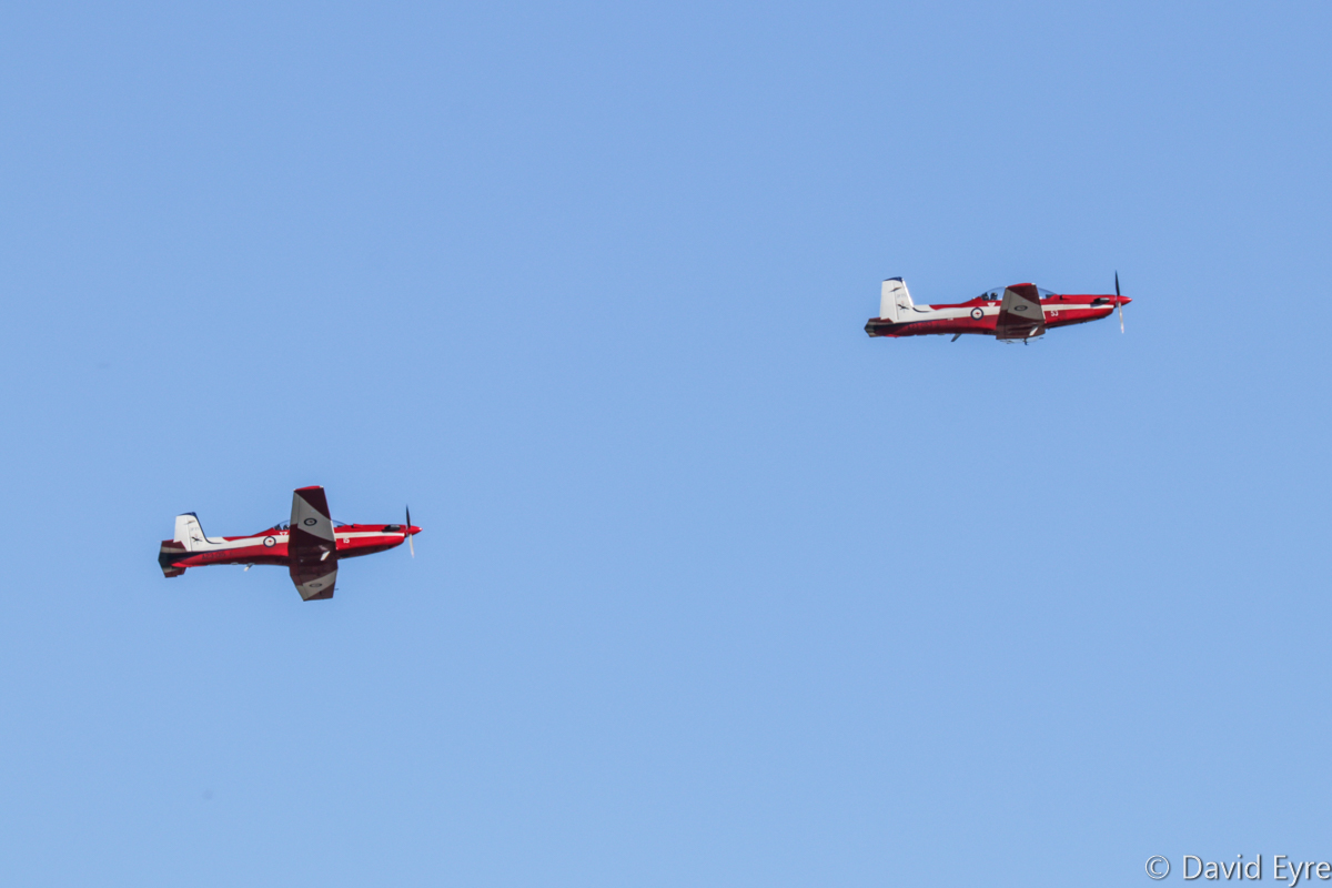 A23-015 (MSN 515) and A23-053 (MSN 553) Pilatus PC-9/A of 2 Flying Training School (2 FTS), RAAF, at RAAF Pearce - Fri 9 June 2017. Taking off to perform formation flypasts at the graduation ceremony for No.247 Pilots Course. Photo © David Eyre