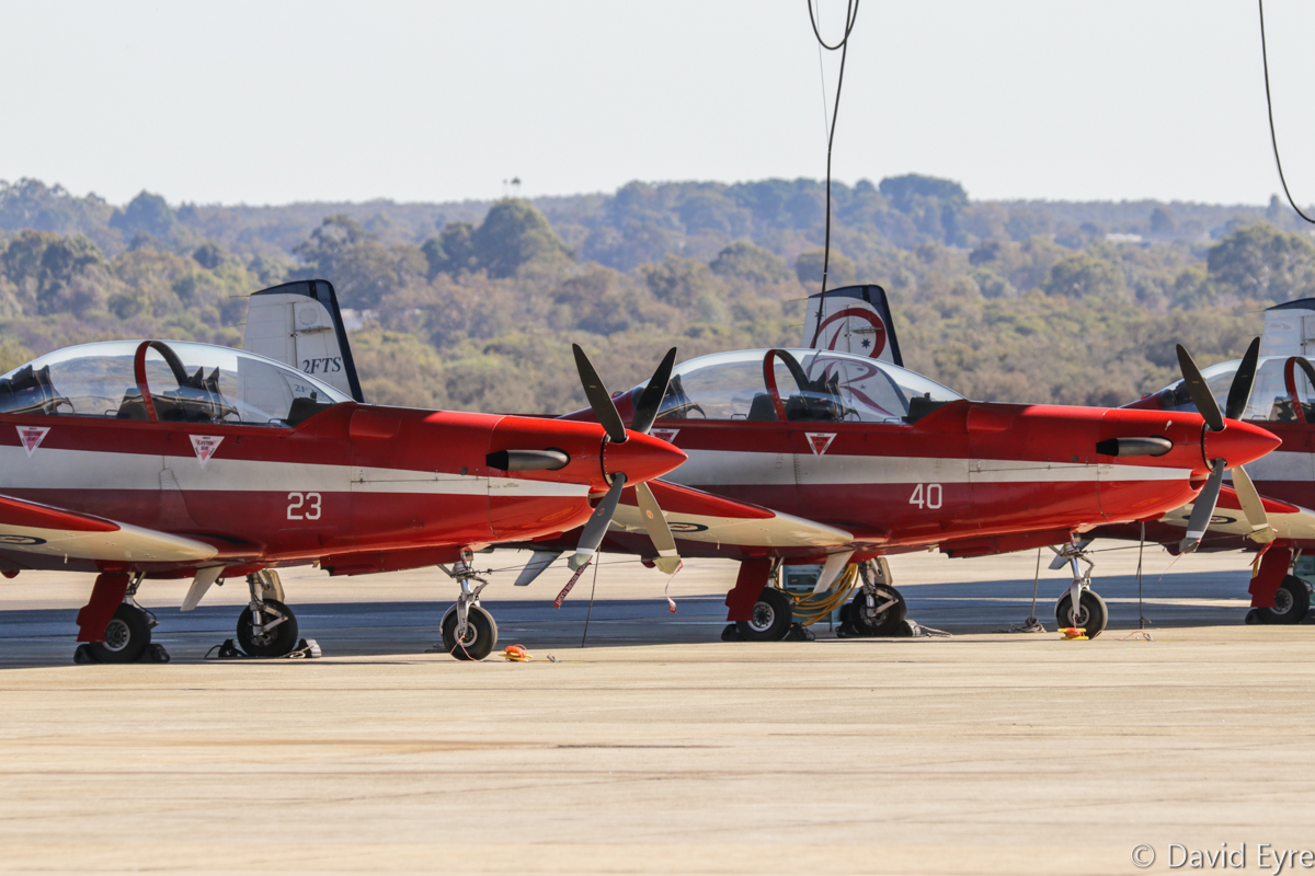 A23-023 (MSN 523) and A23-040 (MSN 540) Pilatus PC-9/A of 2 Flying Training School (2 FTS), RAAF, at RAAF Pearce - Fri 9 June 2017. Photo © David Eyre