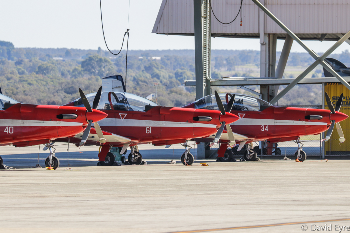A23-040 (MSN 540), A23-061 (MSN 561) and A23-034 (MSN 534) Pilatus PC-9/A of 2 Flying Training School (2 FTS), RAAF, at RAAF Pearce - Fri 9 June 2017. A23-061 still wears markings of the Roulettes Aerobatic Team on its tail. Photo © David Eyre