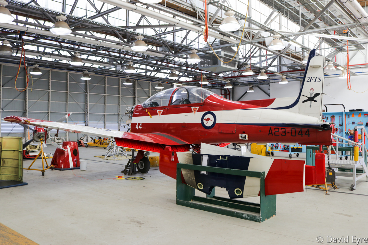 A23-044 Pilatus PC-9/A (MSN 544) of 2 Flying Training School (2 FTS), RAAF, at RAAF Pearce - Fri 9 June 2017. Undergoing maintenance. Photo © David Eyre