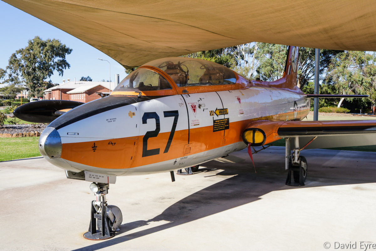 A7-027 Macchi (CAC) MB-326H (MSN CA30-27) in RAAF 2FTS markings at RAAF Pearce - Fri 9 June 2017. A7-027 was assembled in Australia by Commonwealth Aircraft Corporation, making its first flight on 15 August 1968 and was delivered to the RAAF on 22 August 1968. It served with the Central Flying School, the Roulettes aerobatic team and 76 Squadron at Williamtown, NSW. Upon being replaced by the BAE Systems Hawk, it was retired from service and allocated to 25 (City of Perth) Squadron for promotional purposes, but was later painted in 2 FTS markings. It is on display near the parade ground and old gate to RAAF Base Pearce. Photo © David Eyre