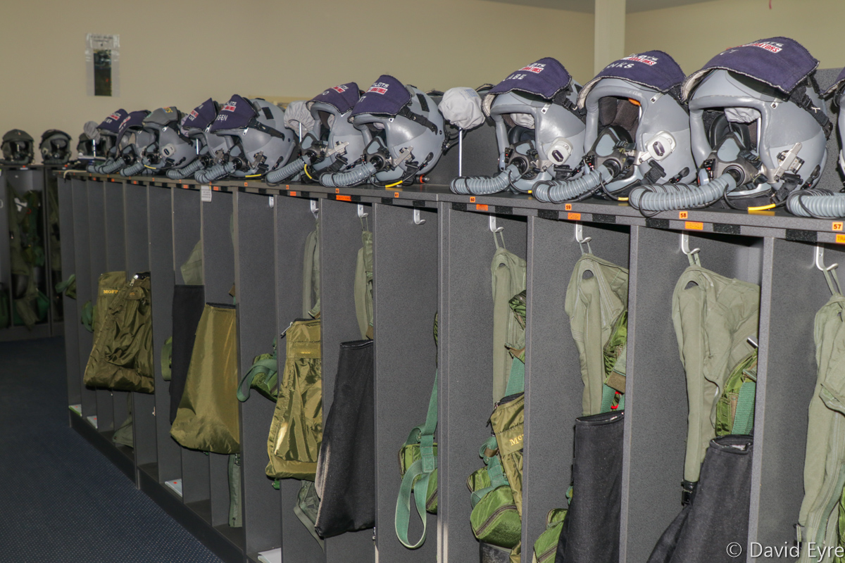 Pilots' helmets and G-suits in the 2 Flying Training School Aircrew Flight Equipment Room - RAAF Pearce - Friday 9 June 2017. Photo © David Eyre