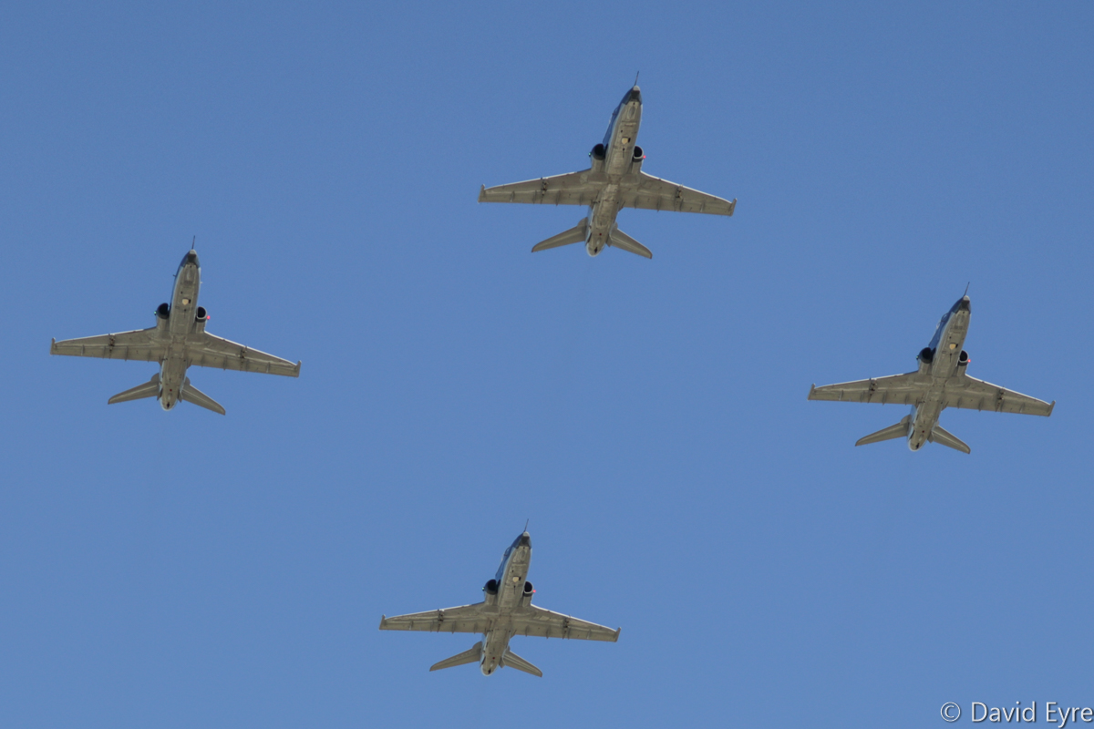Diamond Four formation of BAE Systems Hawk 127 aircraft of 79 Squadron, at RAAF Pearce - Friday 9 June 2017. Flypast over the graduation ceremony for No.247 Pilots Course. In the formation are A27-18 (leading the formation), A27-23 (left), A27-07 (right) and A27-21 (at the rear). Photo © David Eyre