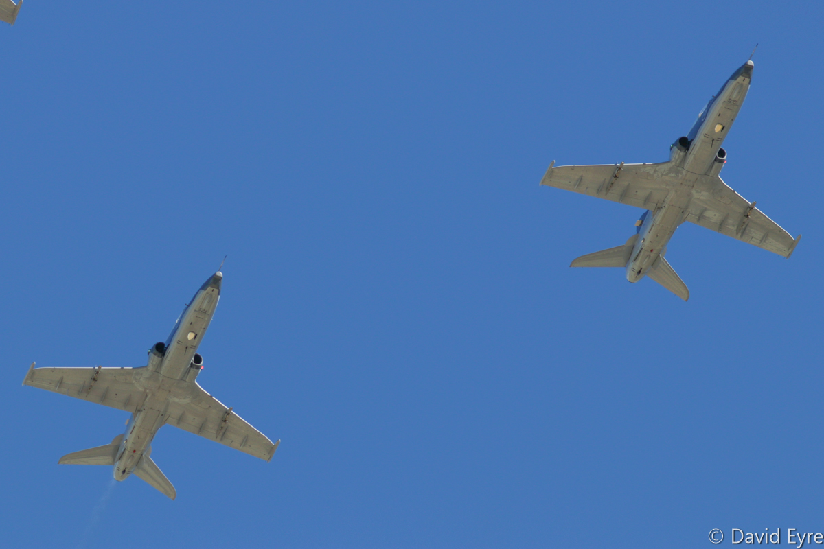 A27-21 (left) and A27-07 (right), part of a Diamond Four formation of BAE Systems Hawk 127 aircraft of 79 Squadron, at RAAF Pearce - Friday 9 June 2017. Flypast over the graduation ceremony for No.247 Pilots Course. Other aircraft in the formation were A27-18 and A27-23. Photo © David Eyre