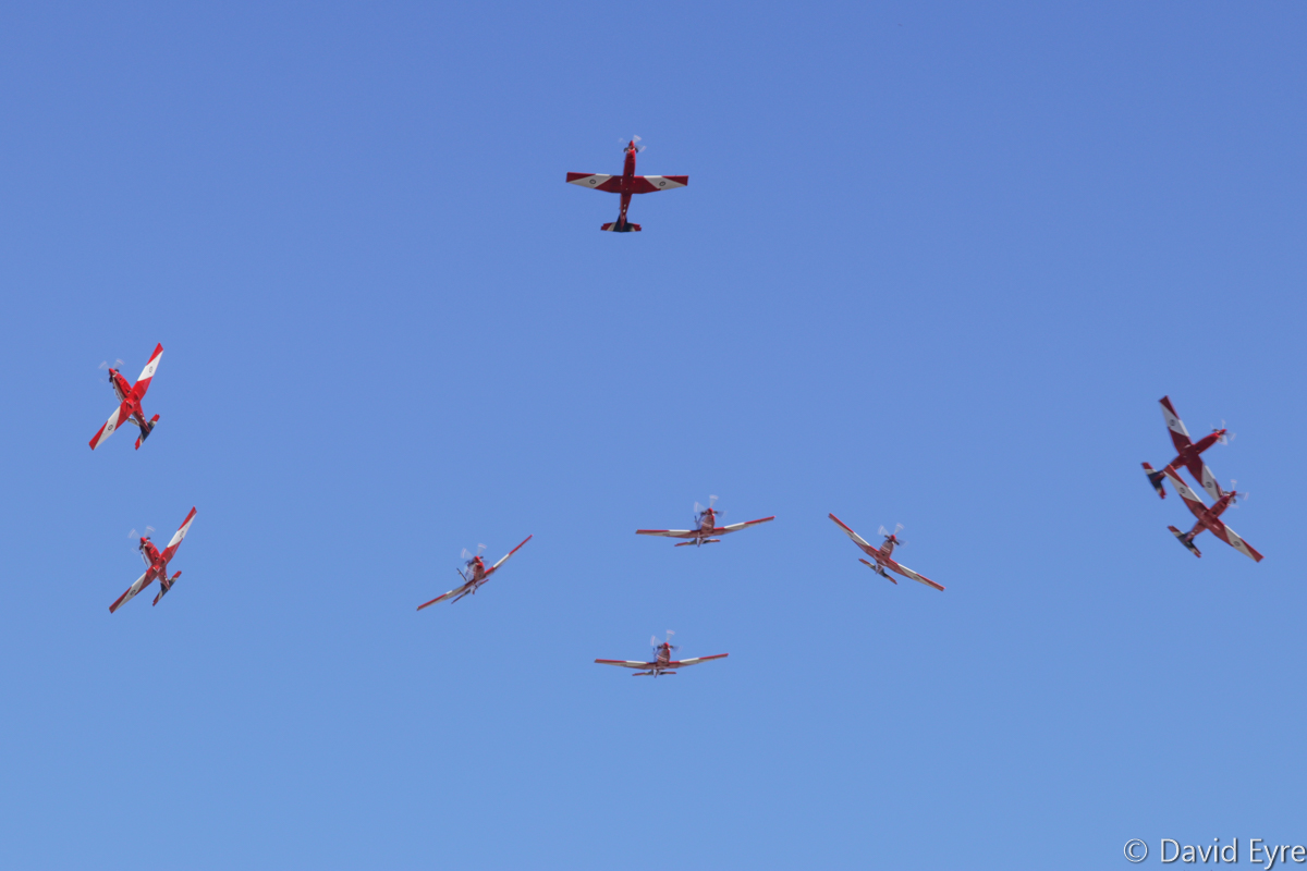 Nine-ship 'Bomb Burst' of Pilatus PC-9/A aircraft of 2 Flying Training School (2 FTS), RAAF, at RAAF Pearce - Fri 9 June 2017. Over the graduation ceremony for No.247 Pilots Course. In the formation are A23-041, A23-019, A23-009, A23-053, A23-047, A23-015, A23-008, and A23-040. Photo © David Eyre