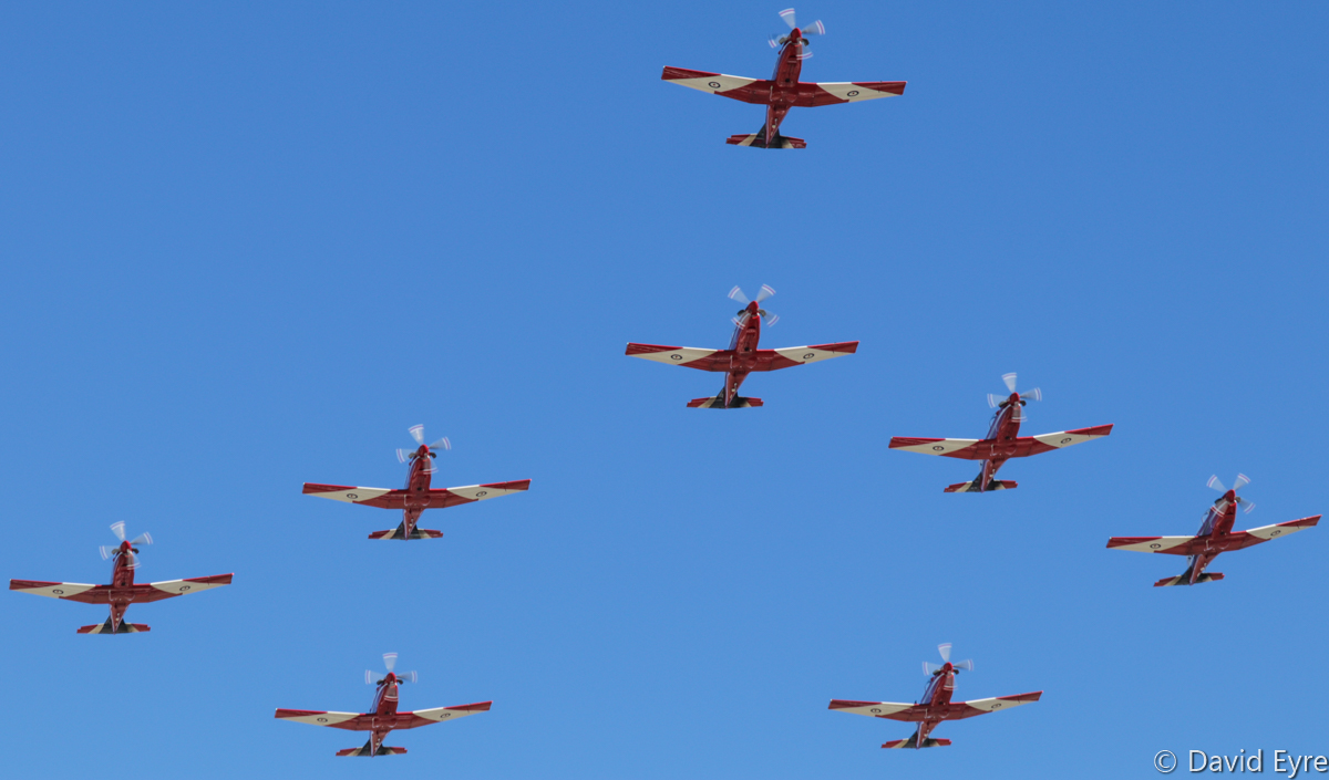 Nine-ship 'Concorde' formation of Pilatus PC-9/A aircraft of 2 Flying Training School (2 FTS), RAAF, at RAAF Pearce - Fri 9 June 2017. Flypast over the graduation ceremony for No.247 Pilots Course. In the formation are A23-041, A23-019, A23-009, A23-053, A23-047, A23-015, A23-008, and A23-040. Photo © David Eyre
