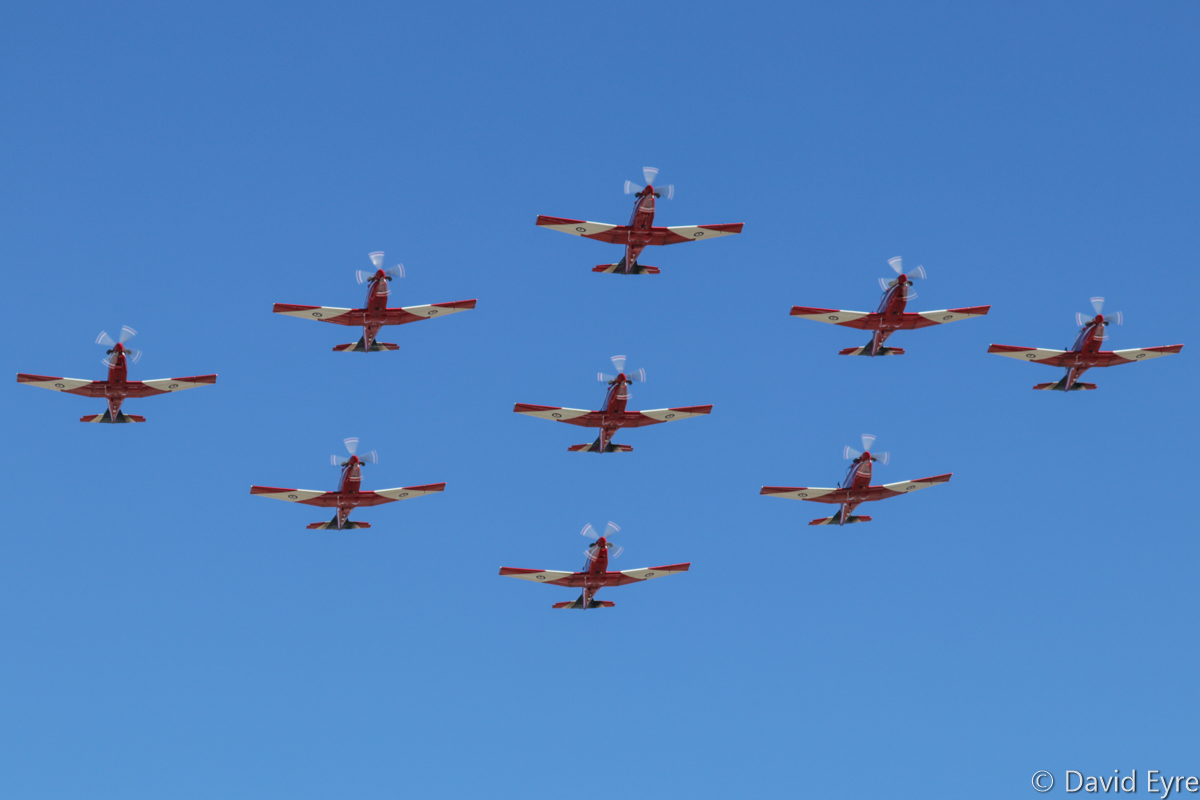 'Diamond Nine' formation of Pilatus PC-9/A aircraft of 2 Flying Training School (2 FTS), RAAF, at RAAF Pearce - Fri 9 June 2017. Flypast over the graduation ceremony for No.247 Pilots Course. Leading the formation is A23-041; followed by A23-019 (left) and A23-009 (right); then A23-010 (left), A23-053 (centre) and A23-047 (right).; A23-015 (left) and A23-008 (right), then A23-040 at the rear. Photo © David Eyre