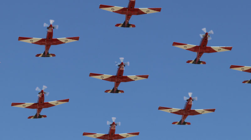 Centre part of a 'Diamond Nine' formation of Pilatus PC-9/A aircraft of 2 Flying Training School (2 FTS), RAAF, at RAAF Pearce - Fri 9 June 2017. Flypast over the graduation ceremony for No.247 Pilots Course. Leading the formation is A23-041; followed by A23-019 (left) and A23-009 (right); then A23-053 (centre) and A23-047 (right).; A23-015 (left) and A23-008 (right), then A23-040 at the rear. Photo © David Eyre