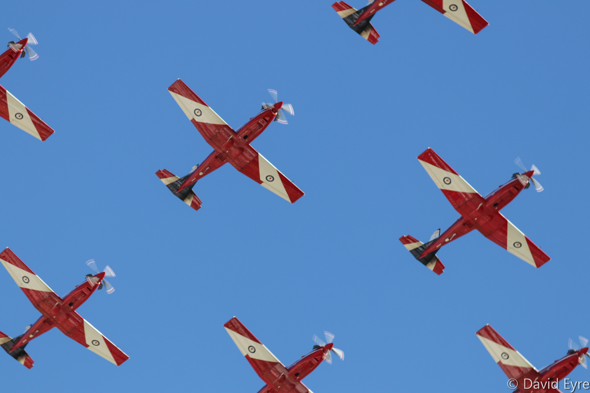 Centre part of a 'Diamond Nine' formation of Pilatus PC-9/A aircraft of 2 Flying Training School (2 FTS), RAAF, at RAAF Pearce - Fri 9 June 2017. Flypast over the graduation ceremony for No.247 Pilots Course. In the formation are A23-041, A23-019, A23-009, A23-053, A23-047, A23-015, A23-008, and A23-040. Photo © David Eyre