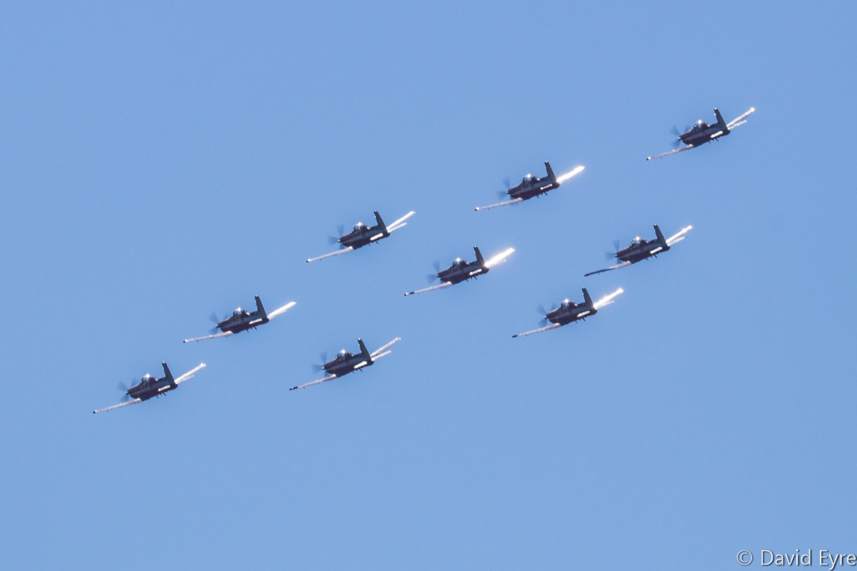 'Diamond Nine' formation of Pilatus PC-9/A aircraft of 2 Flying Training School (2 FTS), RAAF, at RAAF Pearce - Fri 9 June 2017. Flypast over the graduation ceremony for No.247 Pilots Course. In the formation are A23-041, A23-019, A23-009, A23-053, A23-047, A23-015, A23-008, and A23-040. Photo © David Eyre
