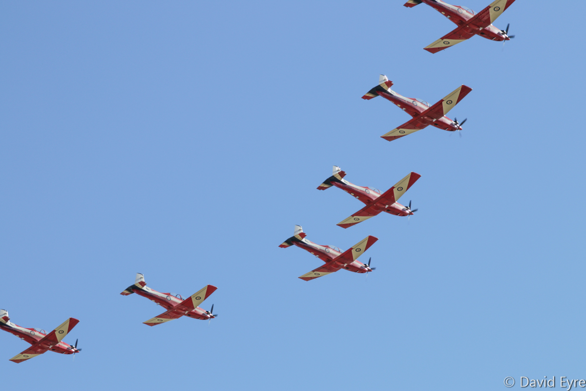 7-ship 'Vic' formation of Pilatus PC-9/A aircraft of 2 Flying Training School (2 FTS), RAAF, at RAAF Pearce - Fri 9 June 2017. Flypast over the graduation ceremony for No.247 Pilots Course. In the formation are A23-008, A23-009, A23-010, A23-019, A23-040, A23-041 and A23-053. Photo © David Eyre