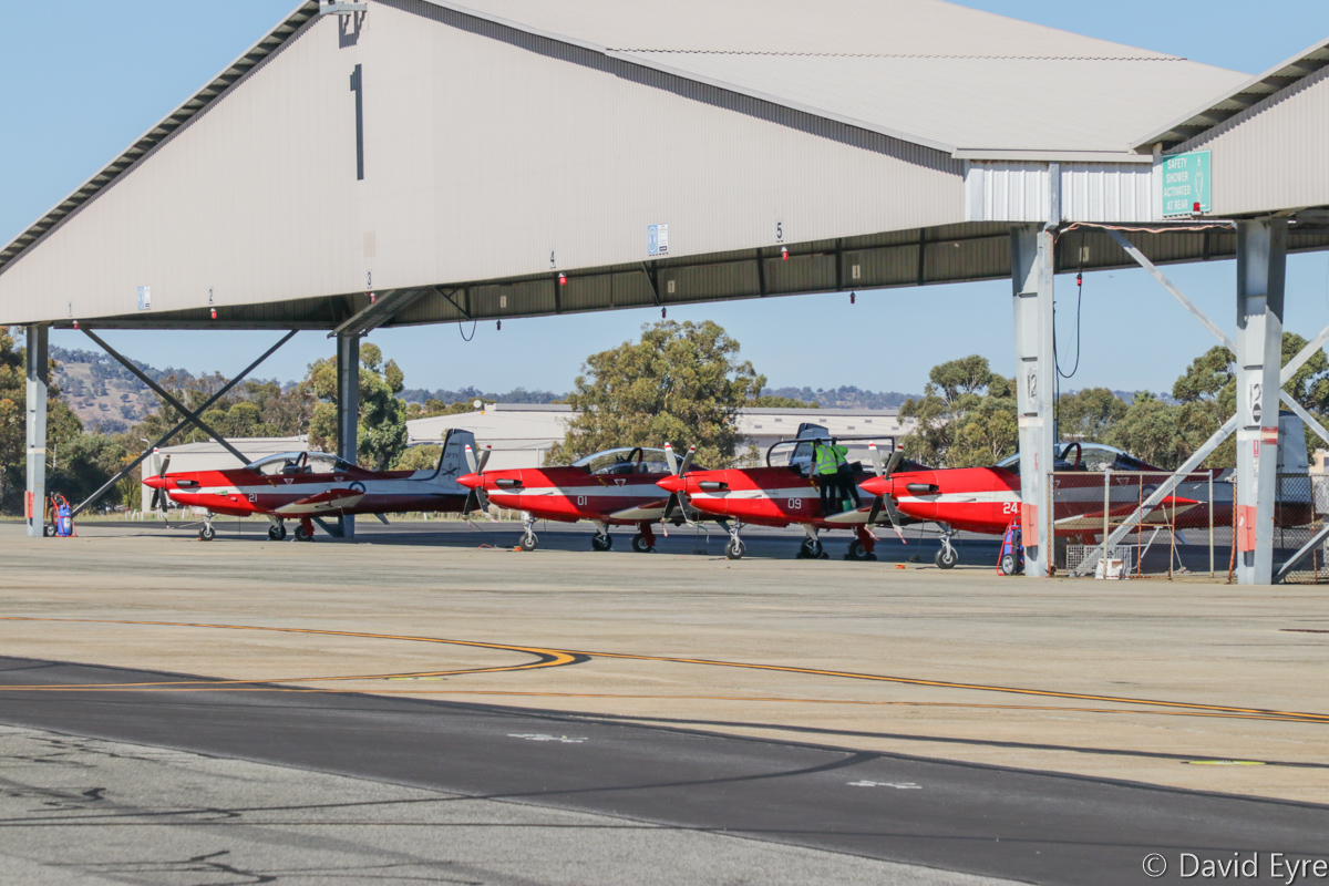 A23-021, A23-001, A23-009 and A23-024 Pilatus PC-9/A aircraft of 2 Flying Training School (2 FTS), RAAF, at RAAF Pearce - Fri 9 June 2017. A23-001 was the first PC-9/A built for the RAAF and was one of two which were fully assembled in Switzerland. Photo © David Eyre