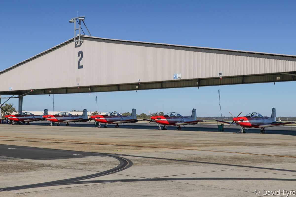 A23-011, A23-048, A23-008, A23-053, A23-049 Pilatus PC-9/A aircraft of 2 Flying Training School (2 FTS), RAAF, at RAAF Pearce - Fri 9 June 2017. Photo © David Eyre
