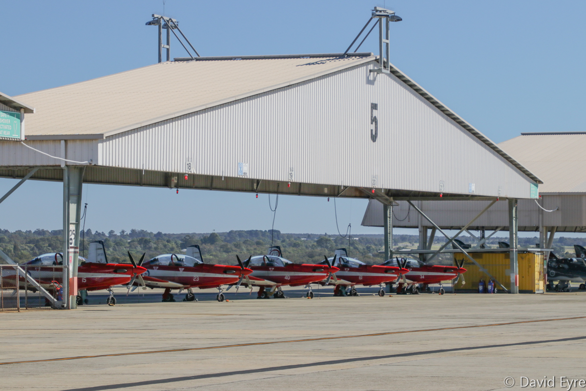 A23-015, A23-023, A23-040, A23-061, A23-034 Pilatus PC-9/A aircraft of 2 Flying Training School (2 FTS), RAAF, at RAAF Pearce - Fri 9 June 2017. A23-061 still wears Roulettes Aerobatic Team markings on its tail. Photo © David Eyre