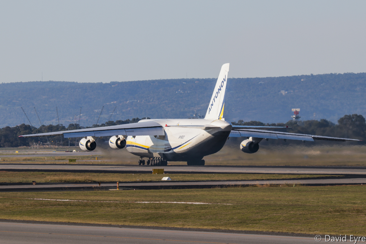 UR-82027 Antonov An-124-100M Ruslan (MSN 19530502288/ LN 02-08) of Antonov Airlines / Antonov Design Bureau at Perth Airport - Fri 9 June 2017. This aircraft arrived 1:35am as flight ADB2099 on 7 June 2017 from Alexandria, Louisiana USA - Ontario (California, USA) - Honolulu (Hawaii, USA) - Darwin (Northern Territory) to Perth, with two Sikorsky S-92A Helibus helicopters aboard for HNZ Australia/PHI, which will operate them from Broome on the INPEX LNG contract. The An-124 is seen here departing at 3:15pm as ferry flight ADB330F to Tianjin, China. Photo © David Eyre