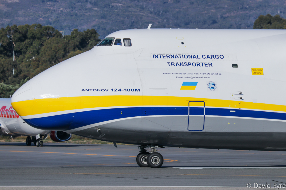 UR-82027 Antonov An-124-100M Ruslan (MSN 19530502288/ LN 02-08) of Antonov Airlines / Antonov Design Bureau at Perth Airport - Fri 9 June 2017. This aircraft arrived 1:35am as flight ADB2099 on 7 June 2017 from Alexandria, Louisiana USA - Ontario (California, USA) - Honolulu (Hawaii, USA) - Darwin (Northern Territory) to Perth, with two Sikorsky S-92A Helibus helicopters aboard for HNZ Australia/PHI, which will operate them from Broome on the INPEX LNG contract. The An-124 is seen here departing at 3:10pm as ferry flight ADB330F to Tianjin, China. Photo © David Eyre