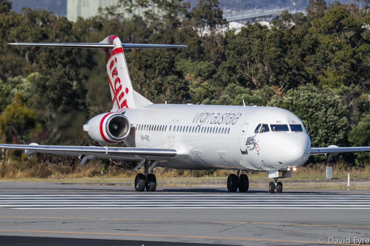 VH-FNC Fokker 100 (MSN 11334) of Virgin Australia Regional Airlines, at Perth Airport - Fri 9 June 2017. Flight VA1727 to Karratha, lining up on runway 03 for take-off at 2:05pm. Photo © David Eyre