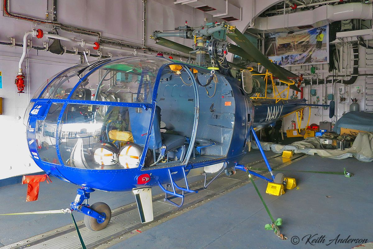 IN-421 Hindustan SA-316B Chetak helicopter (MSN AH-156) at Fremantle Harbour – 14 June 2017.